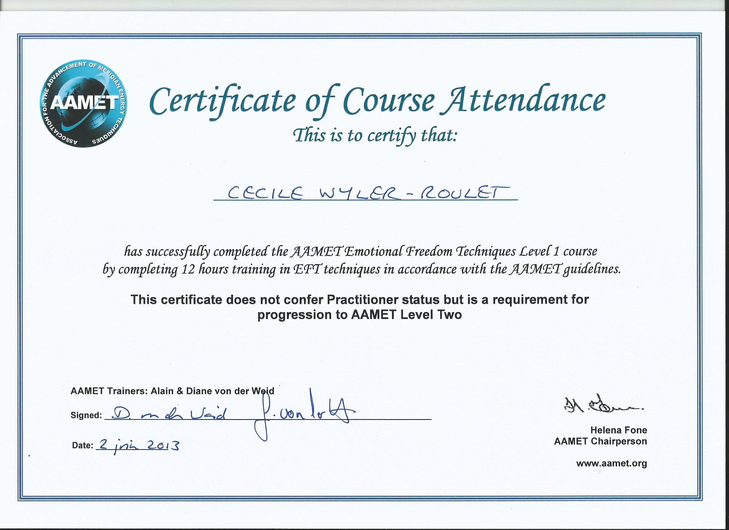 EFT 1 - Course Attendance