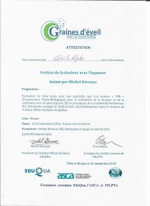 diplome gestion douleur hypnose